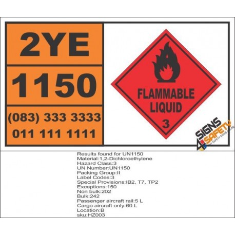 UN1150 1,2-Dichloroethylene, Flammable Liquid (3), Hazchem Placard