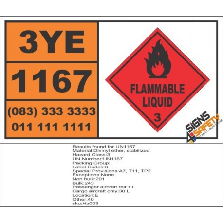 UN1167 Divinyl Ether, Stabilized, Flammable Liquid (3), Hazchem Placard