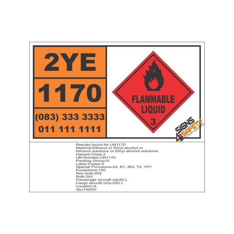 Un1170 Ethanol Or Ethyl Alcohol Or Ethanol Solutions Flammable