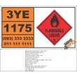 UN1175 Ethylbenzene, Flammable Liquid (3), Hazchem Placard