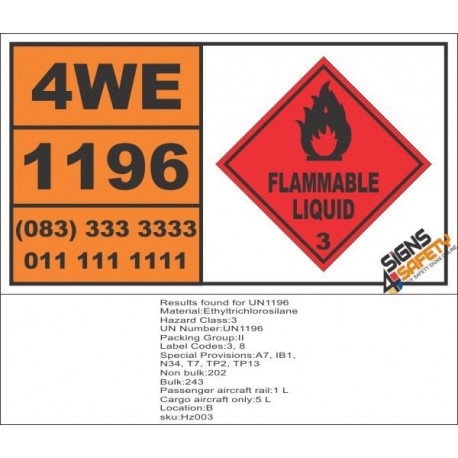 UN1196 Ethyltrichlorosilane, Flammable Liquid (3), Hazchem Placard