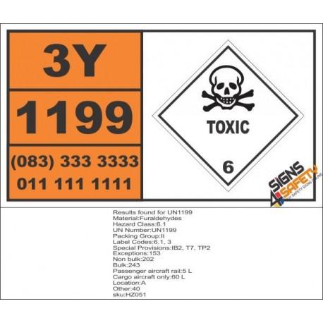 UN1199 Furaldehydes, Toxic (6), Hazchem Placard