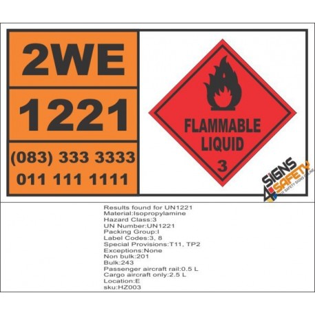 UN1221 Isopropylamine, Flammable Liquid (3), Hazchem Placard