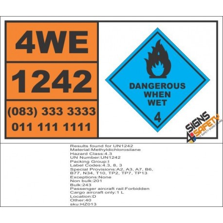 UN1242 Methyldichlorosilane, Dangerous When Wet (4), Hazchem Placard