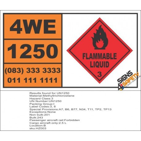 UN1250 Methyltrichlorosilane, Flammable Liquid (3), Hazchem Placard