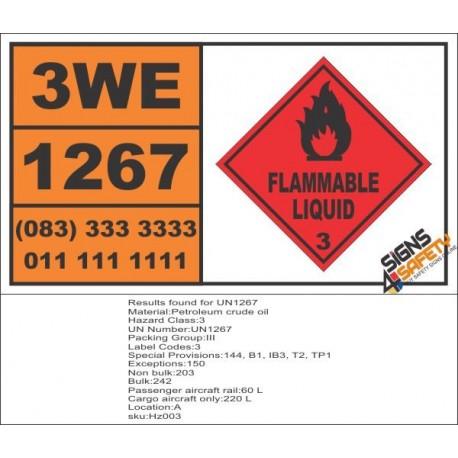 UN1267 Petroleum Crude Oil, Petrol Fuel, Flammable Liquid (3), Hazchem Placard