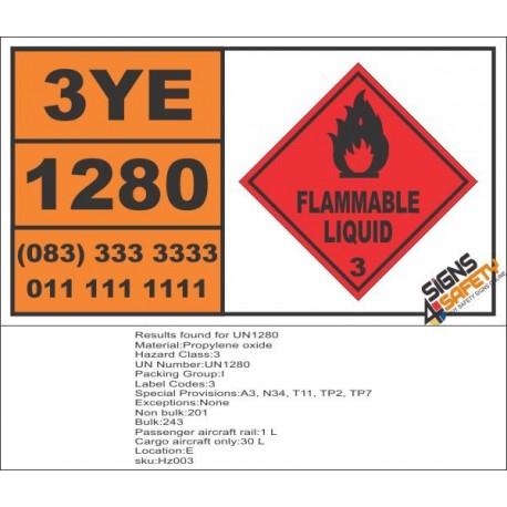 UN1280 Propylene Oxide, Flammable Liquid (3), Hazchem Placard