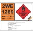 UN1289 Sodium Methylate, Solutions In Alcohol, Flammable Liquid (3), Hazchem Placard