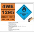 UN1295 Trichlorosilane, Dangerous When Wet (4), Hazchem Placard