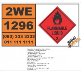 UN1296 Triethylamine, Flammable Liquid (3), Hazchem Placard