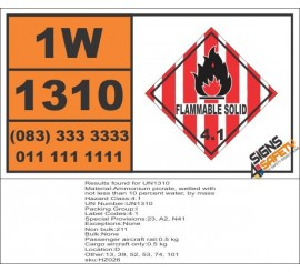 UN1310 Ammonium picrate, wetted with not less than 10 percent water, by mass, Flammable Solid (4), Hazchem Placard