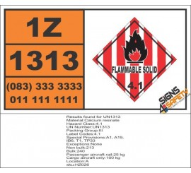 UN1313 Calcium resinate, Flammable Solid (4), Hazchem Placard