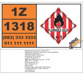 UN1318 Cobalt resinate, precipitated, Flammable Solid (4), Hazchem Placard
