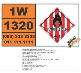 UN1320 Dinitrophenol, wetted, Flammable Solid (4), Hazchem Placard
