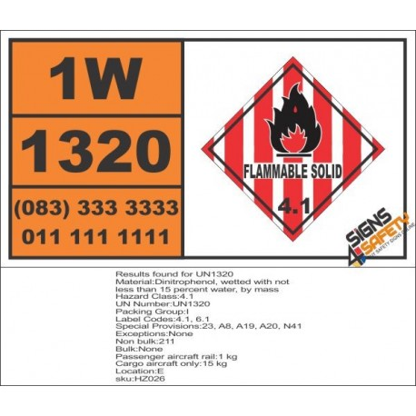 UN1320 Dinitrophenol, wetted, Flammable Solid (4), Hazchem Placard