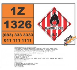 UN1326 Hafnium powder, wetted, Flammable Solid (4), Hazchem Placard