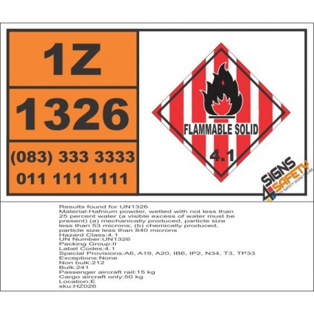 UN1326 Hafnium powder, wetted, Flammable Solid (4), Hazchem Placard
