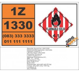 UN1330 Manganese resinate, Flammable Solid (4), Hazchem Placard