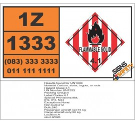 UN1333 Cerium, slabs, ingots, or rods, Flammable Solid (4), Hazchem Placard