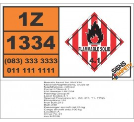 UN1334 Naphthalene, crude or Naphthalene, refined, Flammable Solid (4), Hazchem Placard
