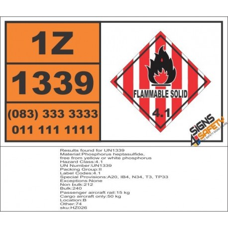 UN1339 Phosphorus heptasulfide, free from yellow or white phosphorus, Flammable Solid (4), Hazchem Placard