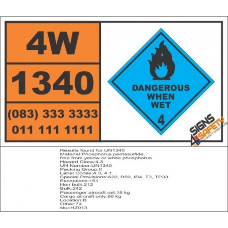 UN1340 Phosphorus pentasulfide, free from yellow or white phosphorus, Dangerous When Wet (4), Hazchem Placard