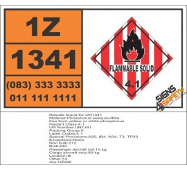 UN1341 Phosphorus sesquisulfide, free from yellow or white phosphorus, Flammable Solid (4), Hazchem Placard