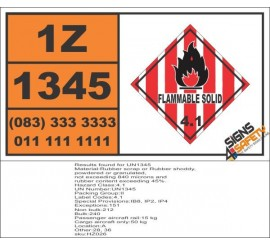 UN1345 Rubber scrap or Rubber shoddy, powdered or granulated, Flammable Solid (4), Hazchem Placard