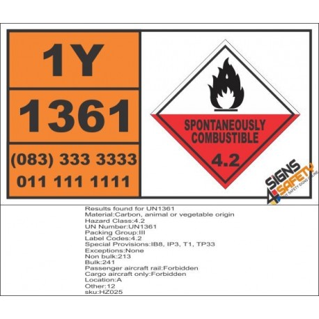 UN1361 Carbon, animal or vegetable origin, Spontaneously Combustible (4), Hazchem Placard