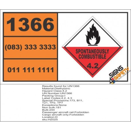 UN1366 Diethylzinc, Spontaneously Combustible (4), Hazchem Placard