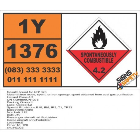 UN1376 Iron oxide, spent, Iron sponge, obtained from coal gas purification, Spontaneously Combustible (4), Hazchem Placard