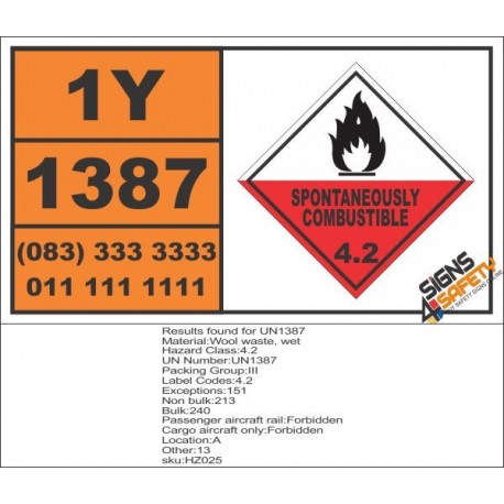 UN1387 Wool waste, wet, Spontaneously Combustible (4), Hazchem Placard