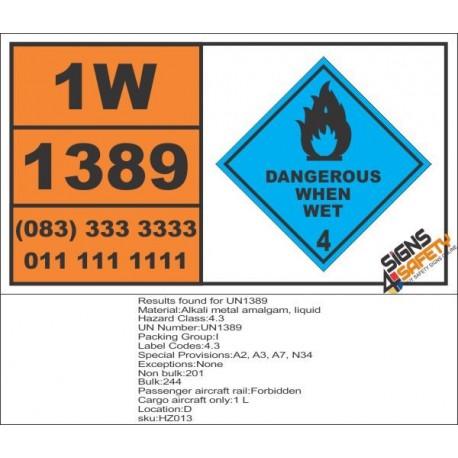 UN1389 Alkali metal amalgam, solid, dangerous when wet (4), Hazchem Placard