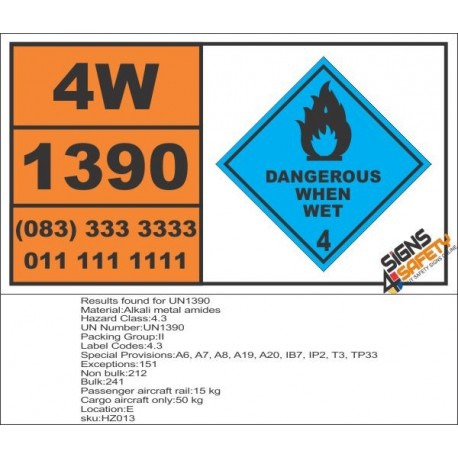 UN1390 Alkali metal amides, dangerous when wet (4), Hazchem Placard