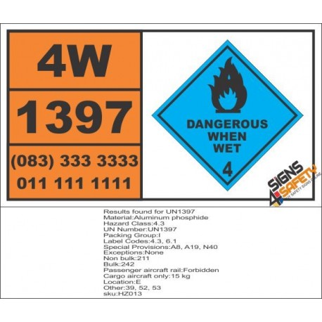UN1397 Aluminum phosphide, dangerous when wet (4), Hazchem Placard