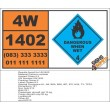 UN1402 Calcium carbide, dangerous when wet (4), Hazchem Placard
