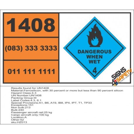 UN1408 Ferrosilicon, with 30 percent or more but less than 90 percent silicon, dangerous when wet (4), Hazchem Placard