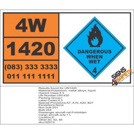 UN1420 Potassium, metal alloys, liquid, dangerous when wet (4), Hazchem Placard
