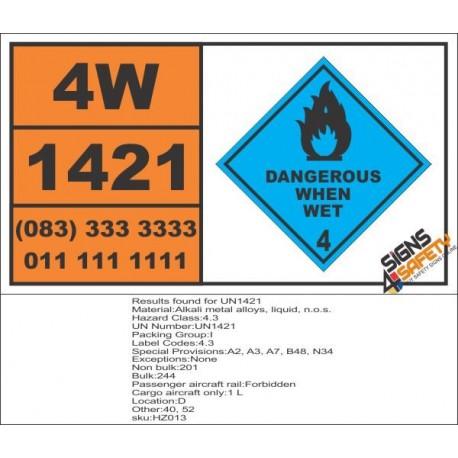 UN1421 Alkali metal alloys, liquid, n.o.s., dangerous when wet (4), Hazchem Placard