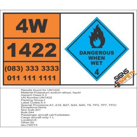 UN1422 Potassium sodium alloys, liquid, dangerous when wet (4), Hazchem Placard