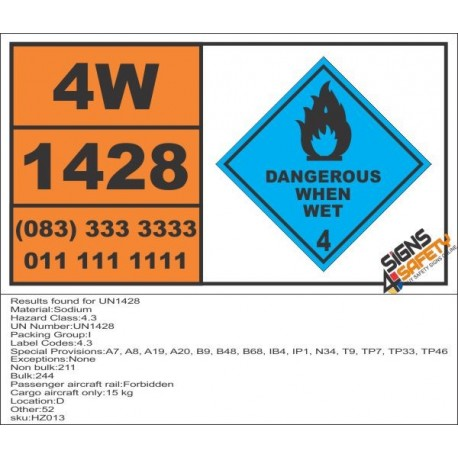 UN1428 Sodium, dangerous when wet (4), Hazchem Placard