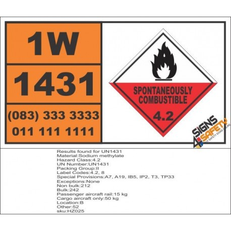 UN1431 Sodium methylate, Spontaneously Combustible (4), Hazchem Placard