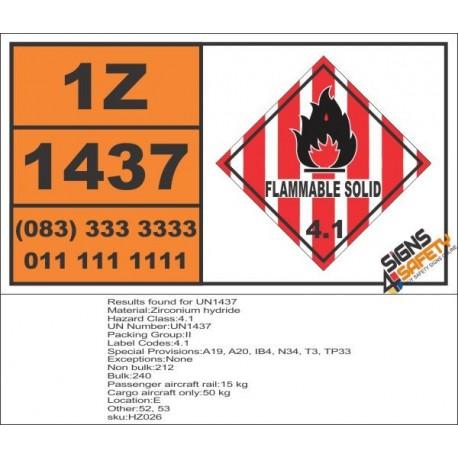 UN1437 Zirconium hydride, Flammable Solid (4), Hazchem Placard