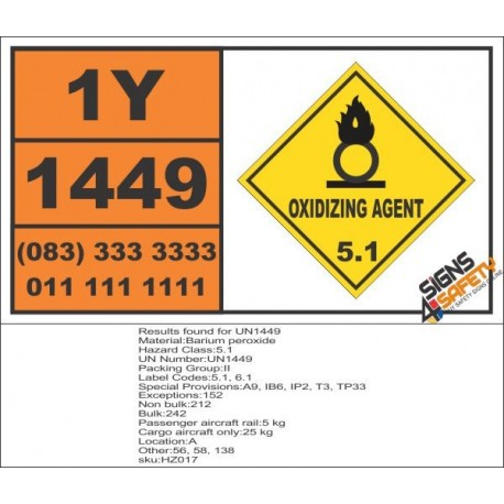 UN1449 Barium peroxide, Oxidizing Agent (5), Hazchem Placard