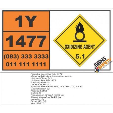 UN1477 Nitrates, inorganic, n.o.s., Oxidizing Agent (5), Hazchem Placard