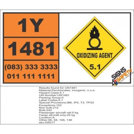 UN1481 Perchlorates, inorganic, n.o.s., Oxidizing Agent (5), Hazchem Placard