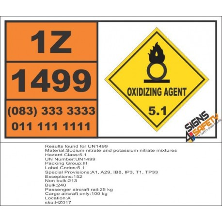 UN1499 Sodium nitrate and potassium nitrate mixtures, Oxidizing Agent (5), Hazchem Placard