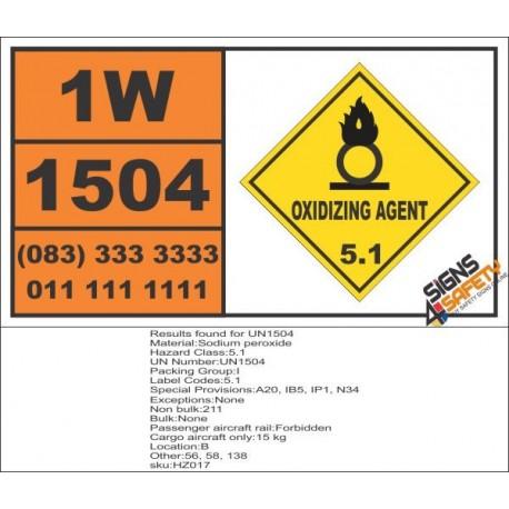 UN1504 Sodium peroxide, Oxidizing Agent (5), Hazchem Placard