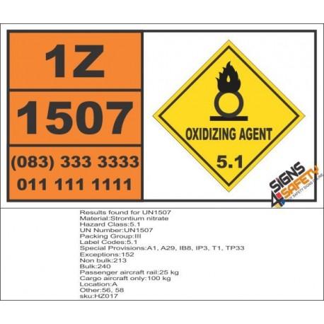 UN1507 Strontium nitrate, Oxidizing Agent (5), Hazchem Placard