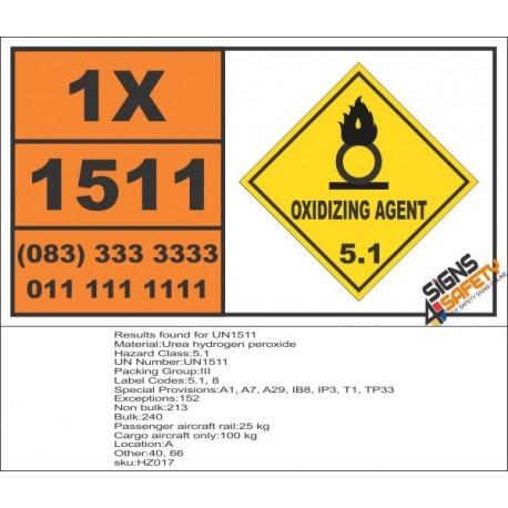UN1511 Urea hydrogen peroxide, Oxidizing Agent (5), Hazchem Placard